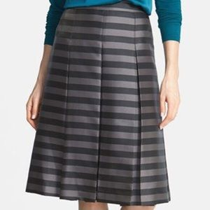 Halogen Black and Silver Pleated Striped Skirt